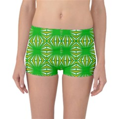 Retro Green Pattern Reversible Boyleg Bikini Bottoms
