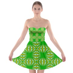 Retro Green Pattern Strapless Bra Top Dress