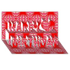 Retro Red Pattern Happy Birthday 3D Greeting Card (8x4)