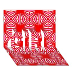 Retro Red Pattern GIRL 3D Greeting Card (7x5)