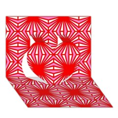 Retro Red Pattern Heart 3d Greeting Card (7x5)