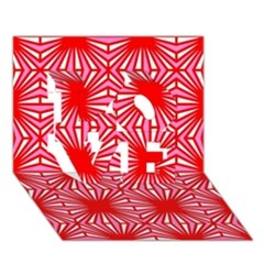 Retro Red Pattern LOVE 3D Greeting Card (7x5)
