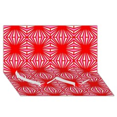Retro Red Pattern Twin Heart Bottom 3d Greeting Card (8x4)
