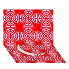 Retro Red Pattern Circle Bottom 3D Greeting Card (7x5)