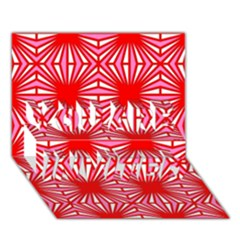 Retro Red Pattern YOU ARE INVITED 3D Greeting Card (7x5)