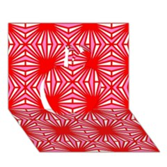 Retro Red Pattern Apple 3d Greeting Card (7x5)
