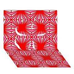 Retro Red Pattern Clover 3d Greeting Card (7x5)