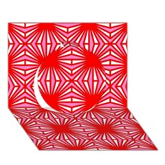 Retro Red Pattern Circle 3d Greeting Card (7x5)