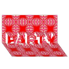 Retro Red Pattern Party 3d Greeting Card (8x4)