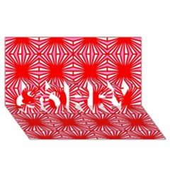 Retro Red Pattern SORRY 3D Greeting Card (8x4)