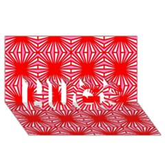 Retro Red Pattern HUGS 3D Greeting Card (8x4)