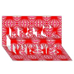 Retro Red Pattern Best Wish 3D Greeting Card (8x4)