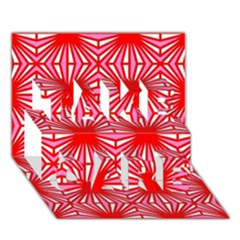 Retro Red Pattern TAKE CARE 3D Greeting Card (7x5)