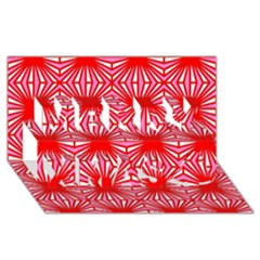 Retro Red Pattern Merry Xmas 3d Greeting Card (8x4)
