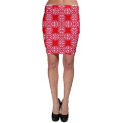 Retro Red Pattern Bodycon Skirts