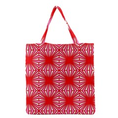 Retro Red Pattern Grocery Tote Bags