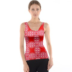 Retro Red Pattern Tank Tops