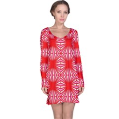 Retro Red Pattern Long Sleeve Nightdresses
