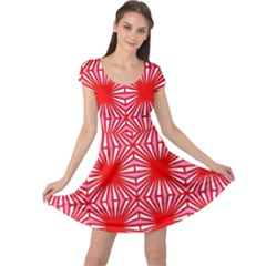 Retro Red Pattern Cap Sleeve Dresses