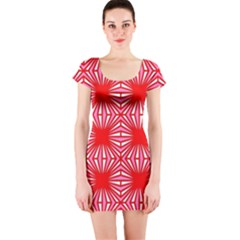 Retro Red Pattern Short Sleeve Bodycon Dresses