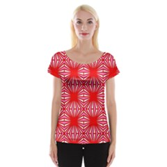 Retro Red Pattern Women s Cap Sleeve Top