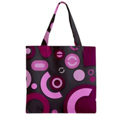 Grey Plum Abstract Pattern  Zipper Grocery Tote Bags