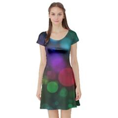 Modern Bokeh 15 Short Sleeve Skater Dresses