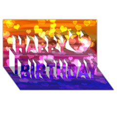 Lovely Hearts, Bokeh Happy Birthday 3d Greeting Card (8x4)