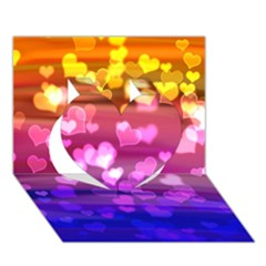 Lovely Hearts, Bokeh Heart 3D Greeting Card (7x5)