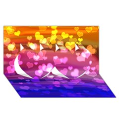 Lovely Hearts, Bokeh Twin Hearts 3D Greeting Card (8x4)