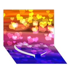 Lovely Hearts, Bokeh Heart Bottom 3d Greeting Card (7x5)