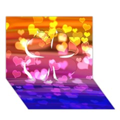 Lovely Hearts, Bokeh Clover 3D Greeting Card (7x5)