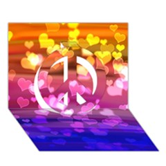 Lovely Hearts, Bokeh Peace Sign 3d Greeting Card (7x5)