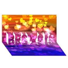 Lovely Hearts, Bokeh BEST SIS 3D Greeting Card (8x4)