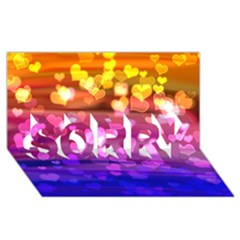Lovely Hearts, Bokeh SORRY 3D Greeting Card (8x4)