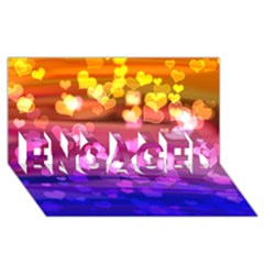 Lovely Hearts, Bokeh ENGAGED 3D Greeting Card (8x4)