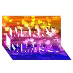 Lovely Hearts, Bokeh Merry Xmas 3d Greeting Card (8x4)