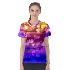Lovely Hearts, Bokeh Women s Sport Mesh Tees