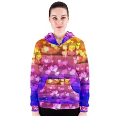 Lovely Hearts, Bokeh Women s Zipper Hoodies