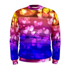 Lovely Hearts, Bokeh Men s Sweatshirts