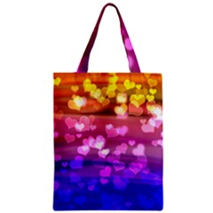 Lovely Hearts, Bokeh Zipper Classic Tote Bags