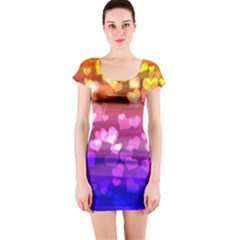 Lovely Hearts, Bokeh Short Sleeve Bodycon Dresses