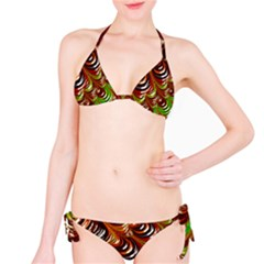 Special Fractal 31 Green,brown Bikini Set
