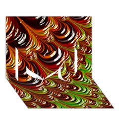 Special Fractal 31 Green,brown I Love You 3D Greeting Card (7x5)