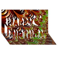 Special Fractal 31 Green,brown Happy Birthday 3d Greeting Card (8x4)
