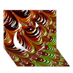 Special Fractal 31 Green,brown Heart 3D Greeting Card (7x5)