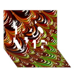 Special Fractal 31 Green,brown LOVE 3D Greeting Card (7x5)