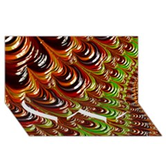 Special Fractal 31 Green,brown Twin Heart Bottom 3D Greeting Card (8x4)