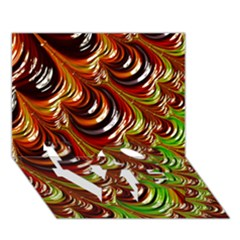 Special Fractal 31 Green,brown LOVE Bottom 3D Greeting Card (7x5)