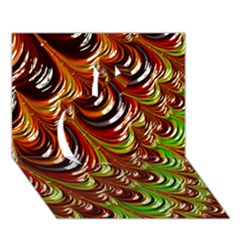 Special Fractal 31 Green,brown Apple 3d Greeting Card (7x5)